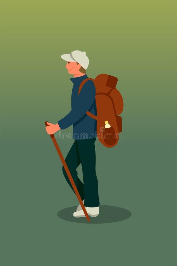 Illustrazione di vettore del fumetto di trekking di viaggiatore con zaino e sacco a pelo royalty illustrazione gratis