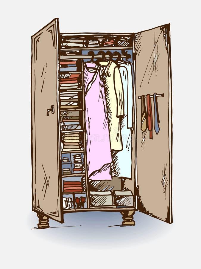 Illustrazione di vettore del gabinetto del guardaroba illustrazione di stock