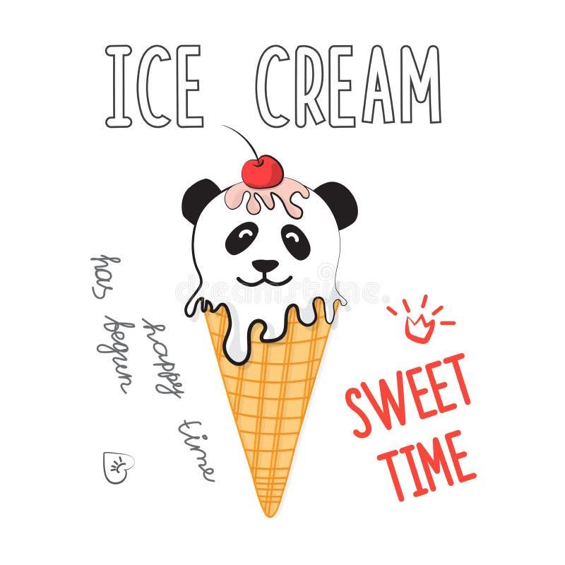 Illustrazione di vettore del gelato nel meme e nello stile comico Autoadesivo fresco per la toppa, il manifesto, il diario, il co royalty illustrazione gratis