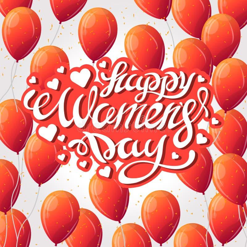 Illustrazione di vettore del giorno delle donne alla moda dell'8 marzo con il segno del testo ed il pallone rosso del cuore per l fotografia stock
