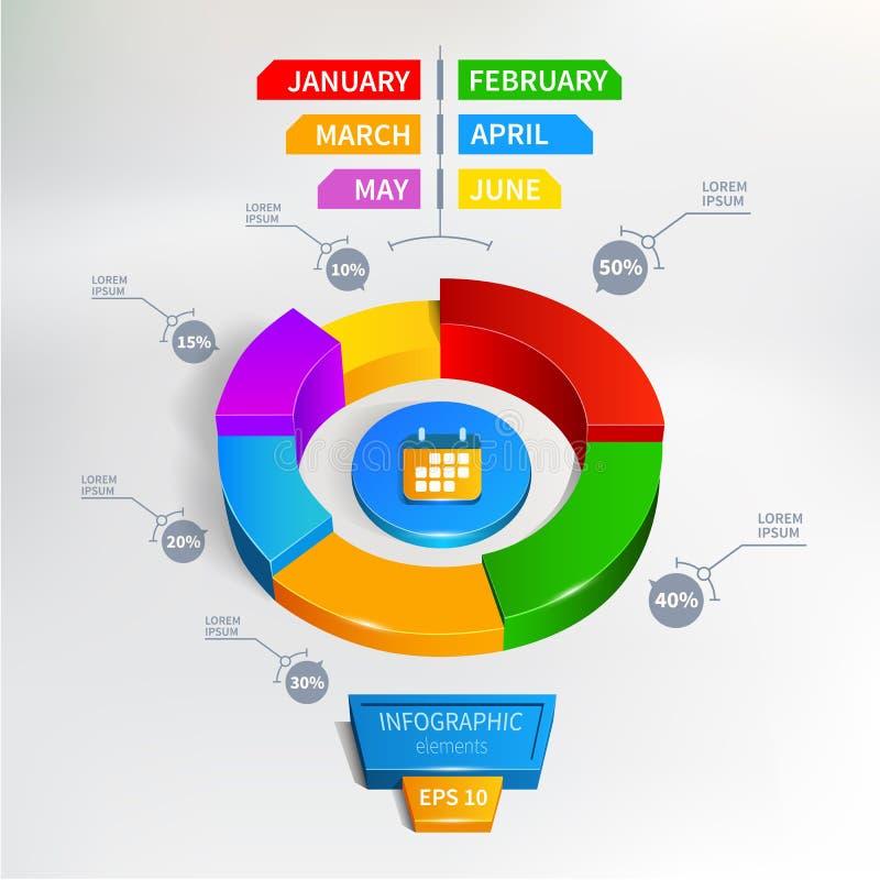 Illustrazione di vettore del grafico di cerchio di Infographics illustrazione di stock