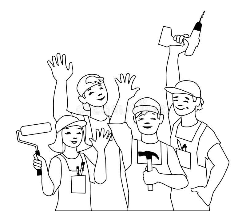 Illustrazione di vettore del gruppo lavorante, artigiani illustrazione di stock