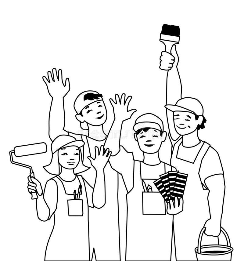 Illustrazione di vettore del gruppo lavorante, pittore degli artigiani royalty illustrazione gratis