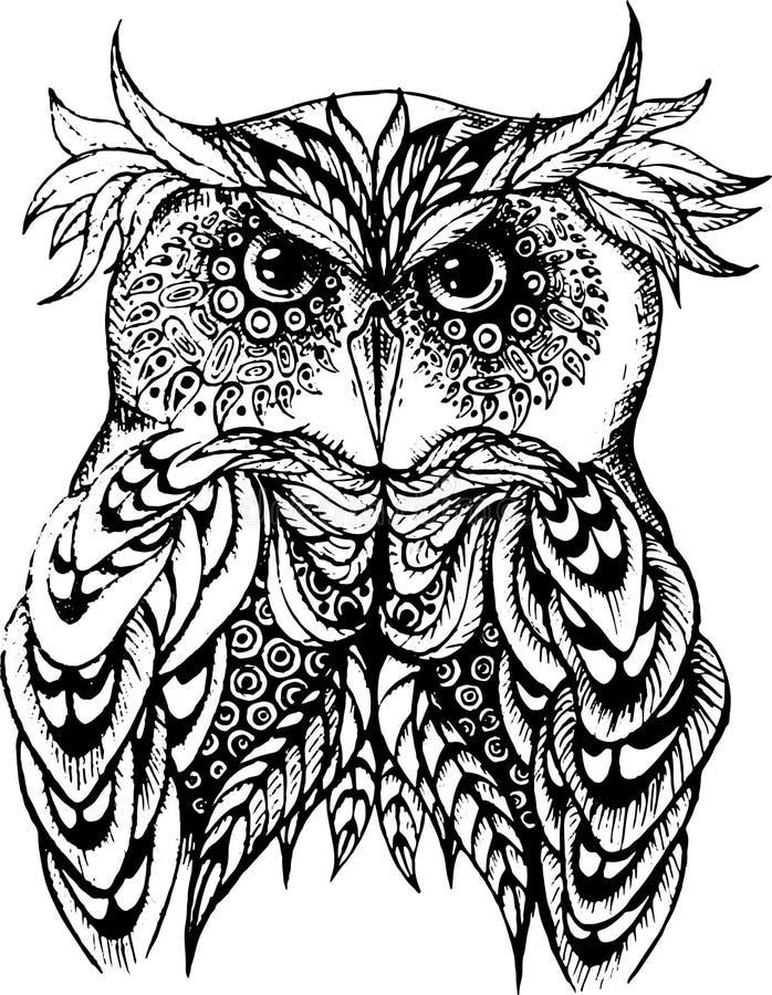 Illustrazione di vettore del gufo in bianco e nero illustrazione di stock
