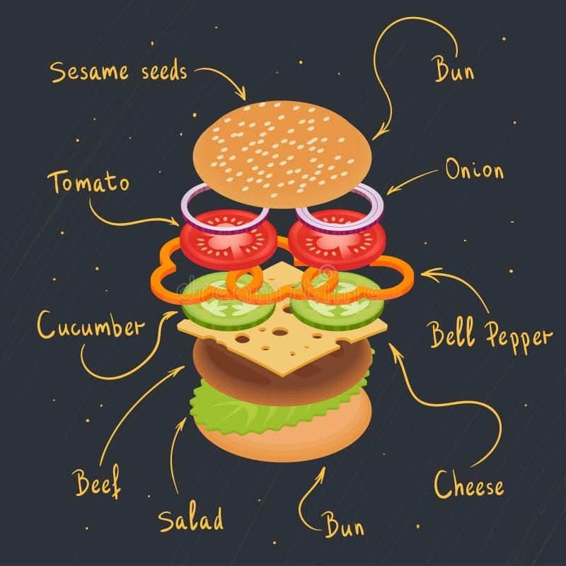Illustrazione di vettore del infographics dell'hamburger royalty illustrazione gratis