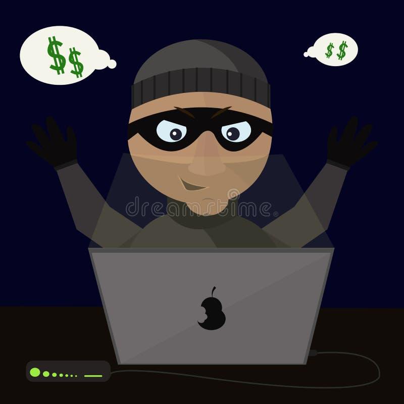 Illustrazione di vettore del ladro con il computer portatile royalty illustrazione gratis