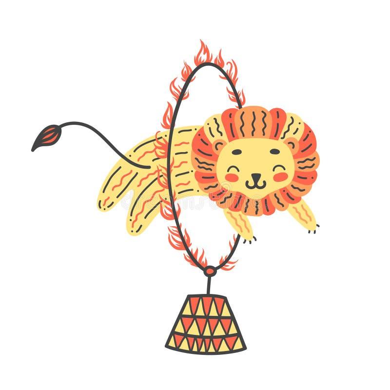 Illustrazione di vettore del leone sveglio Salti attraverso il cerchio del fuoco Artista del circo che fa trucco illustrazione vettoriale