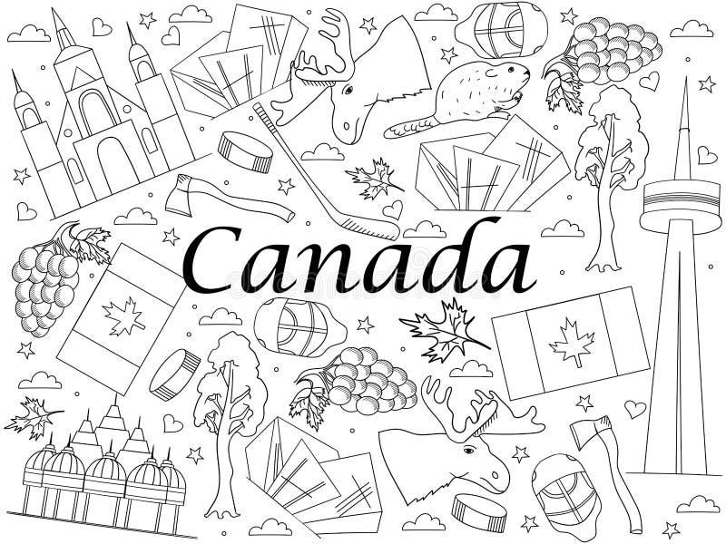 Illustrazione di vettore del libro da colorare del Canada illustrazione vettoriale