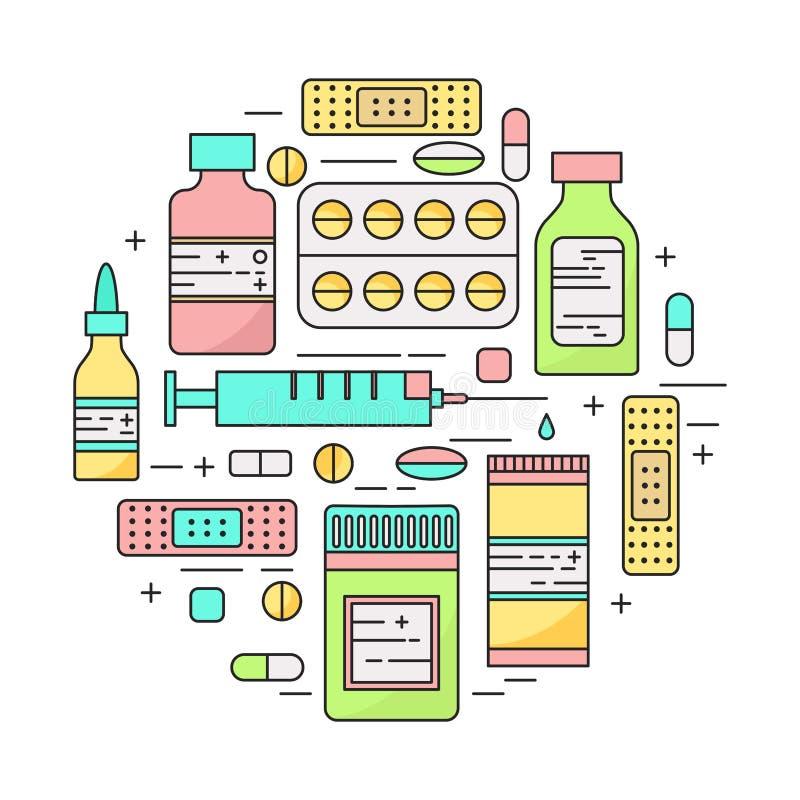 Illustrazione di vettore del lineart dei prodotti della farmacia royalty illustrazione gratis