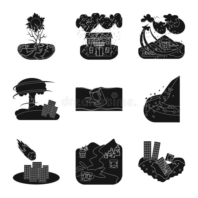 Illustrazione di vettore del logo di arresto e di calamità Raccolta dell'icona di vettore di disastro e di calamità per le azione illustrazione di stock