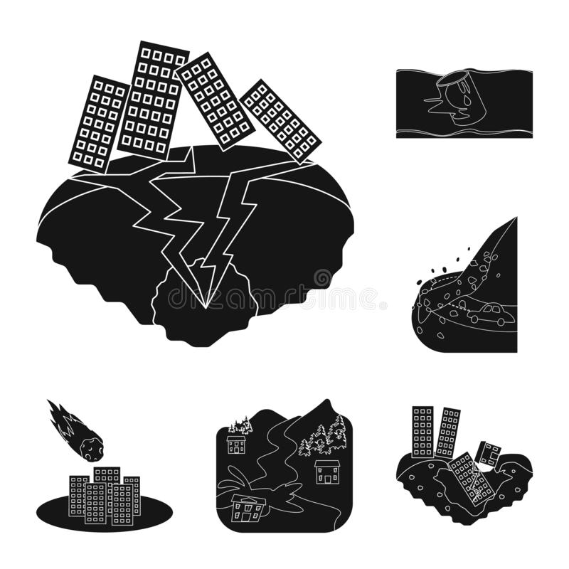 Illustrazione di vettore del logo di arresto e di calamità Raccolta del simbolo di riserva di disastro e di calamità per il web illustrazione vettoriale