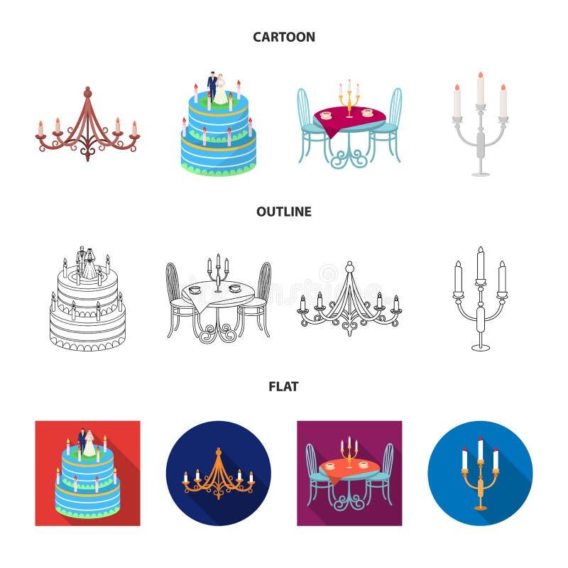 Illustrazione di vettore del logo del candeliere e della candela Raccolta dell'icona di vettore della chiesa e della candela per  illustrazione di stock