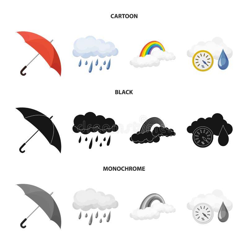 Illustrazione di vettore del logo di clima e del tempo Insieme dell'icona di vettore della nuvola e del tempo per le azione illustrazione vettoriale