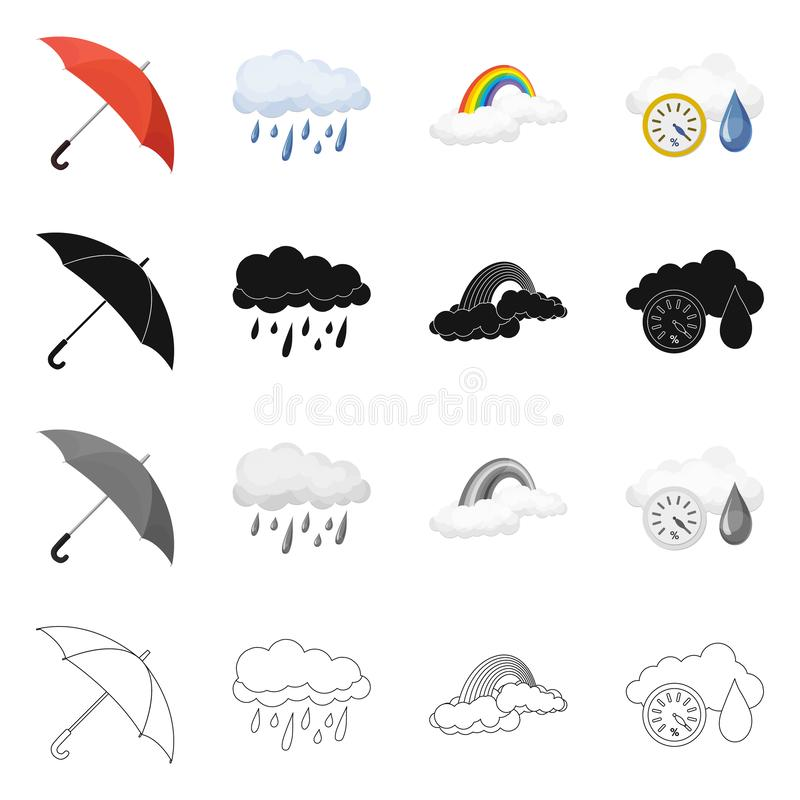 Illustrazione di vettore del logo di clima e del tempo Insieme del simbolo di riserva della nuvola e del tempo per il web royalty illustrazione gratis