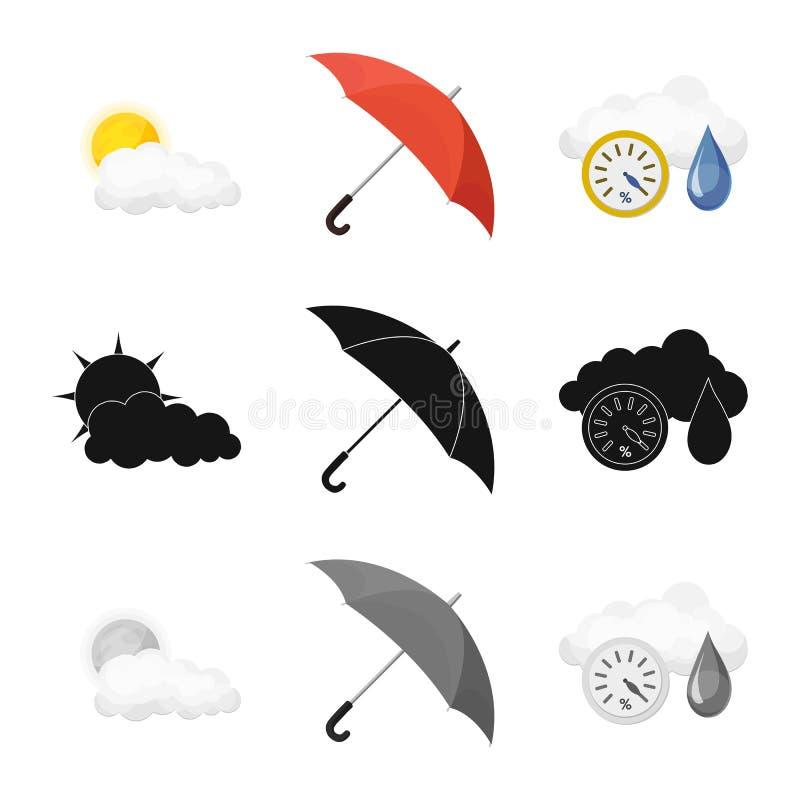 Illustrazione di vettore del logo di clima e del tempo Raccolta dell'icona di vettore della nuvola e del tempo per le azione royalty illustrazione gratis