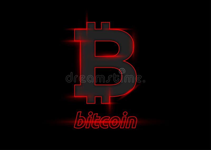 Illustrazione di vettore del logo d'ardore rosso di Bitcoin su Backgro nero royalty illustrazione gratis
