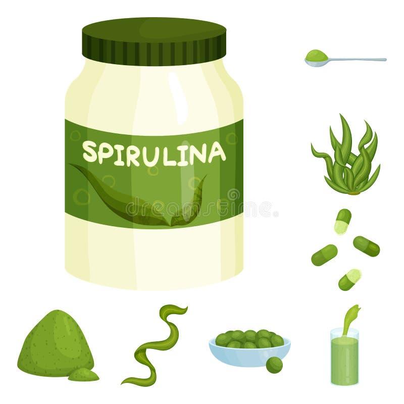 Illustrazione di vettore del logo dell'alga e di spirulina Raccolta del simbolo di riserva del vegano e di spirulina per il web royalty illustrazione gratis