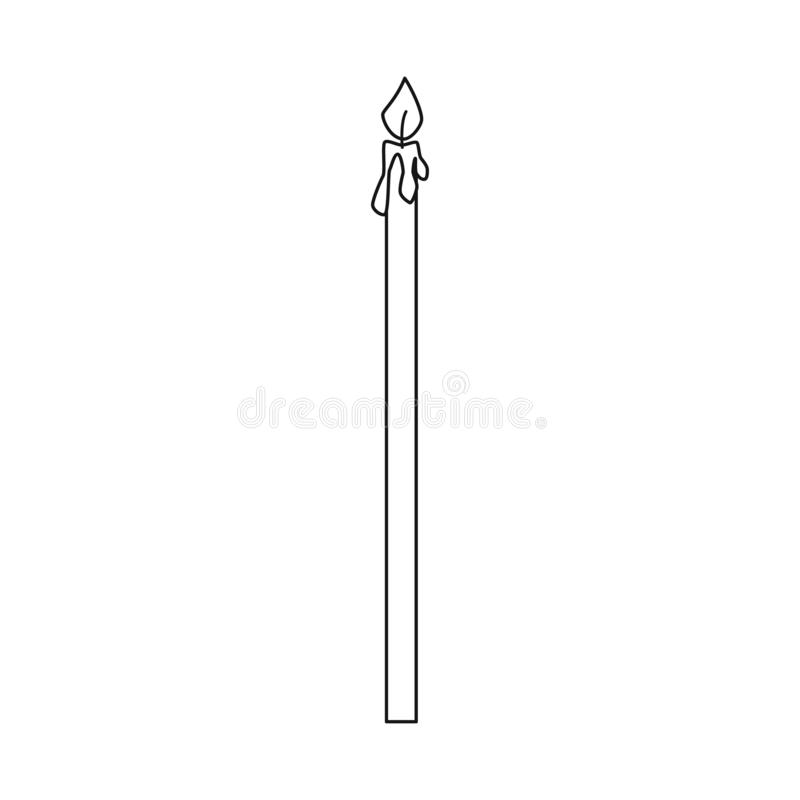 Illustrazione di vettore del logo della chiesa e della candela Metta della candela e dell'icona accesa di vettore per le azione royalty illustrazione gratis
