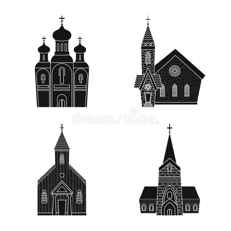 Illustrazione di vettore del logo della parrocchia e della casa Metta dell'icona di vettore della costruzione e della casa per le illustrazione vettoriale