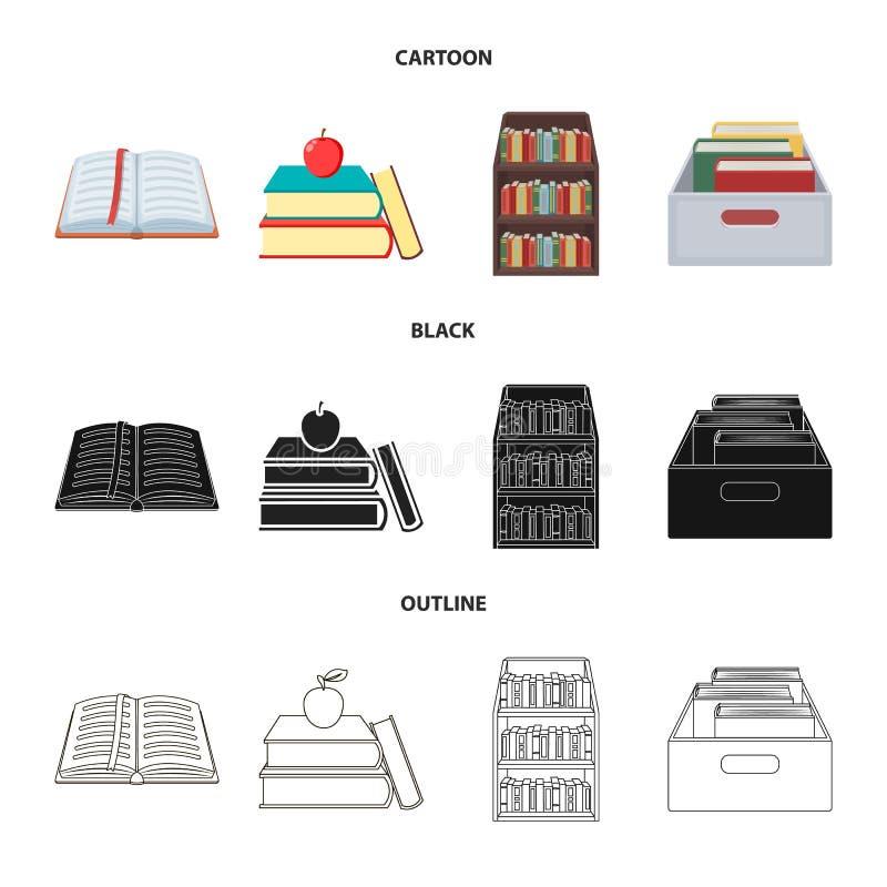 Illustrazione di vettore del logo del manuale e delle biblioteche Raccolta del simbolo di riserva della scuola e delle bibliotech royalty illustrazione gratis