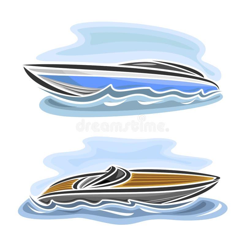 Illustrazione di vettore del logo per la barca di velocità illustrazione vettoriale