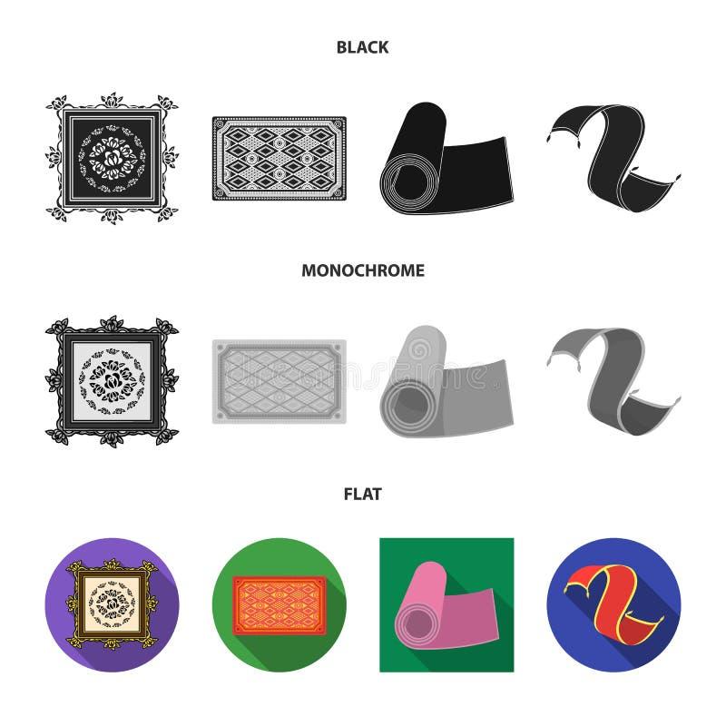 Illustrazione di vettore del logo del persiano e del tappeto Metta dell'icona di vettore del confine e del tappeto per le azione illustrazione di stock