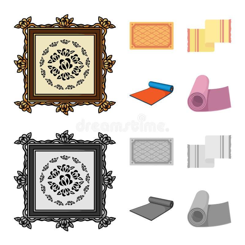 Illustrazione di vettore del logo del persiano e del tappeto Raccolta dell'icona di vettore del confine e del tappeto per le azio illustrazione vettoriale