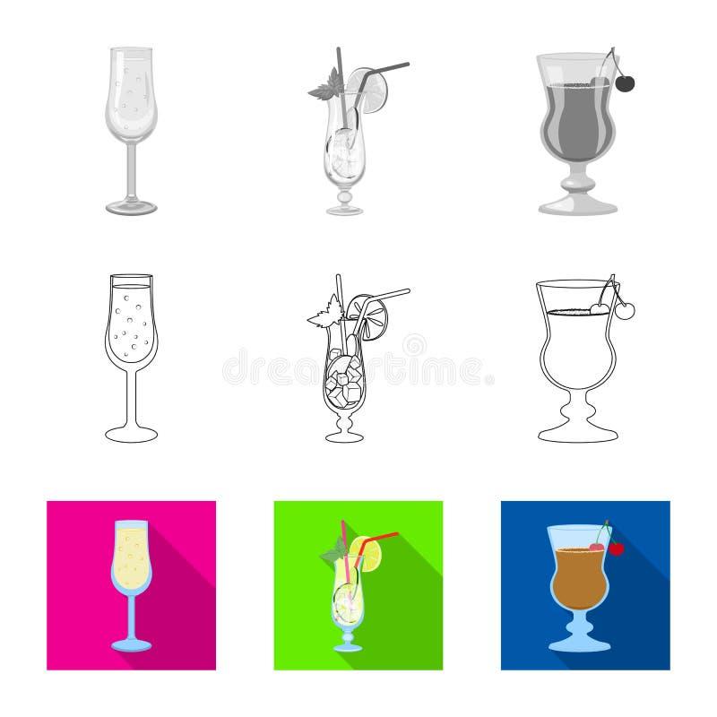 Illustrazione di vettore del logo del ristorante e del liquore Metta dell'icona di vettore dell'ingrediente e del liquore per le  illustrazione vettoriale