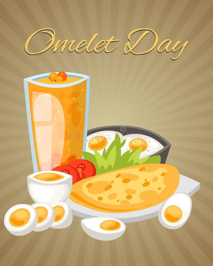 Illustrazione di vettore del manifesto di giorno dell'omelette Uova bollite, fritte e rimescolate con le verdure quali le fette d illustrazione vettoriale