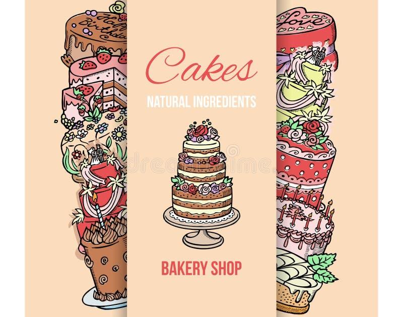 Illustrazione di vettore del manifesto del negozio del dolce Ingredienti naturali dei dolci Qualit? di premio Cioccolato e desser illustrazione di stock