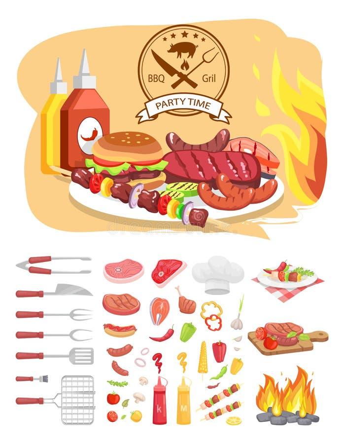Illustrazione di vettore del manifesto di tempo del partito della griglia del BBQ royalty illustrazione gratis