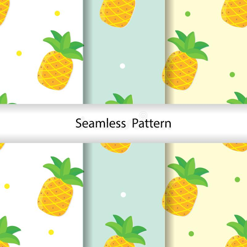 Illustrazione di vettore del modello degli ananas di Kawaii illustrazione vettoriale