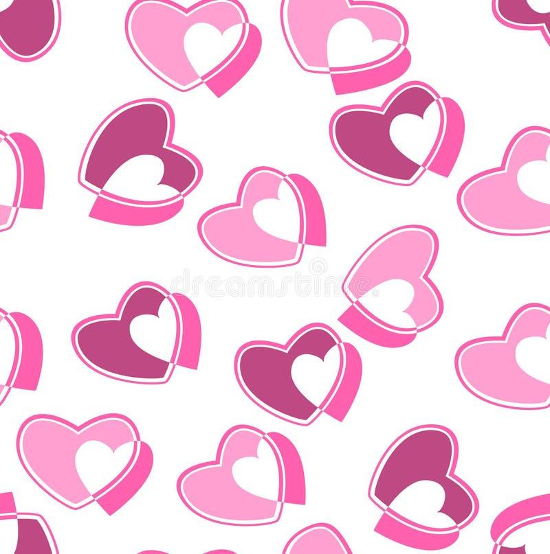 Illustrazione di vettore del modello del biglietto di S. Valentino del cuore fotografia stock libera da diritti