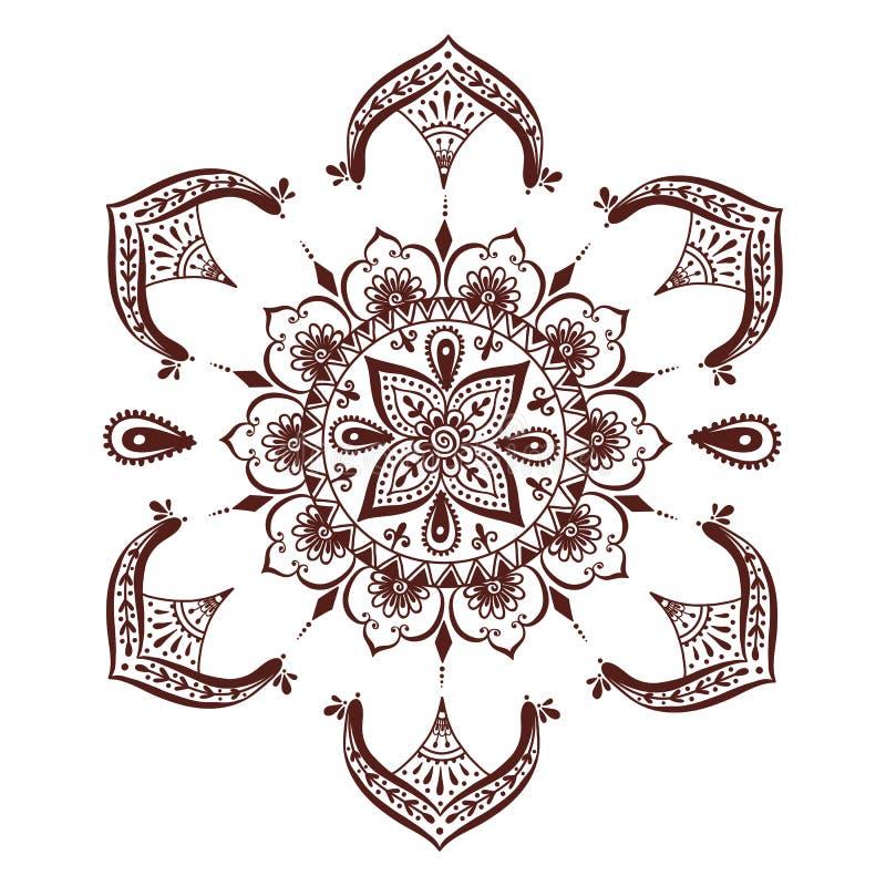 Illustrazione di vettore del modello del fiore di mehndi - Modello di base del fiore ...