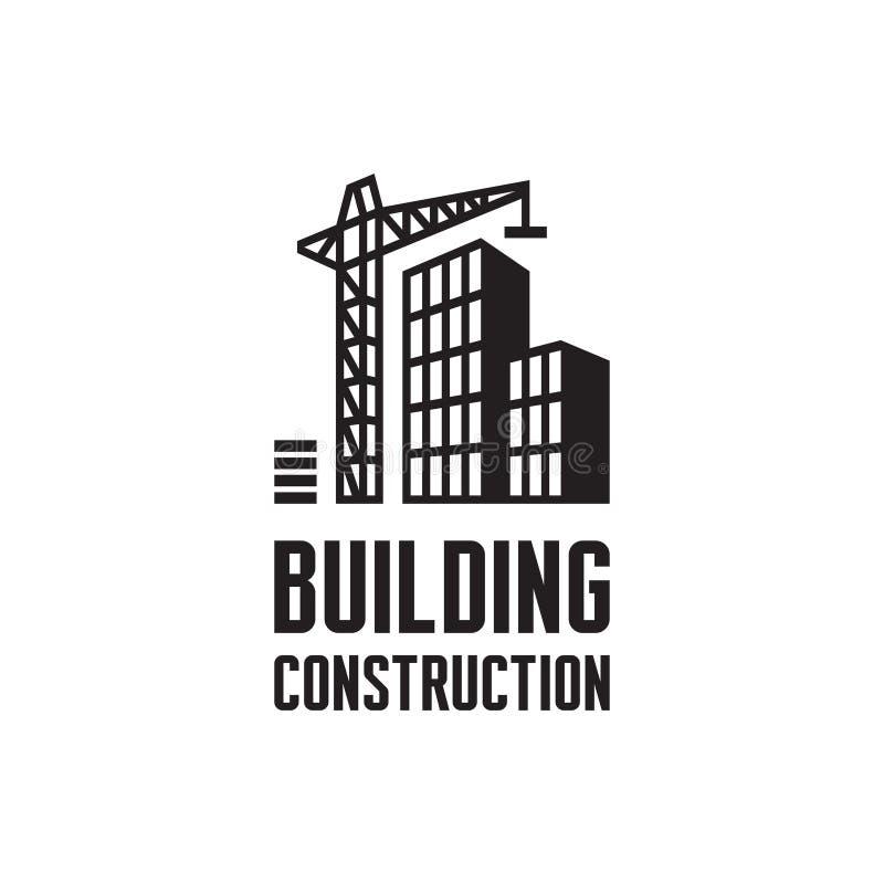 Illustrazione di vettore del modello di logo della costruzione di edifici Concetto della gru nei colori bianchi e neri Segno del  illustrazione di stock