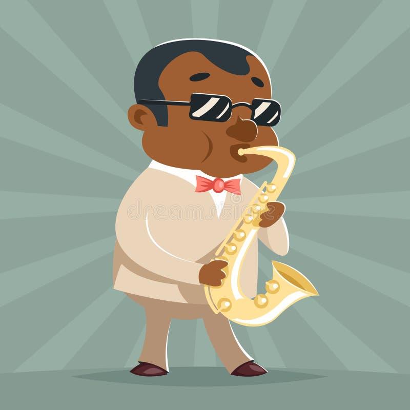 Illustrazione di vettore del modello di progettazione del fumetto dell'icona del carattere di Jazz Afro American Artist Concept d royalty illustrazione gratis