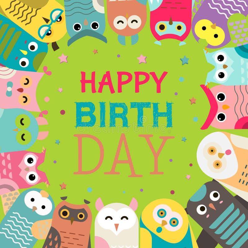 Illustrazione di vettore del modello del gufo Benvenuto al mio compleanno Faccia un desiderio Uccelli saggi del fumetto sveglio c royalty illustrazione gratis