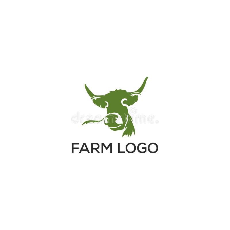 Illustrazione di vettore del modello di progettazione grafica di logo dell'azienda agricola mucca/di Angus illustrazione vettoriale