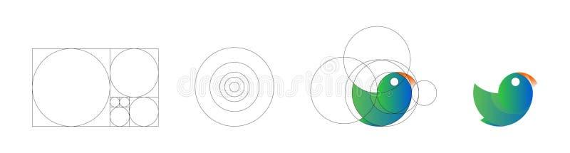Illustrazione di vettore del modello di progettazione di logo dell'uccello fatto con i principi dorati di rapporto di principi di illustrazione vettoriale