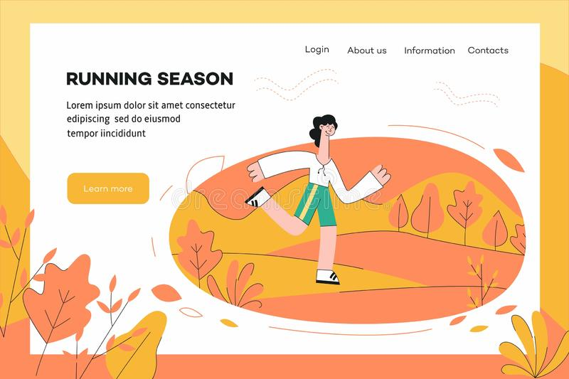 Illustrazione di vettore del modello sano e sportivo del sito Web di concetto di stile di vita royalty illustrazione gratis