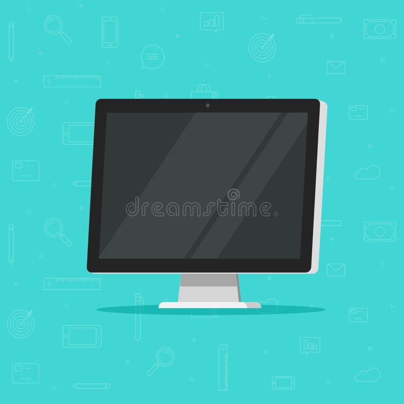 Illustrazione di vettore del monitor del computer, progettazione piana del fumetto di ampia visualizzazione, affissione a cristal illustrazione di stock