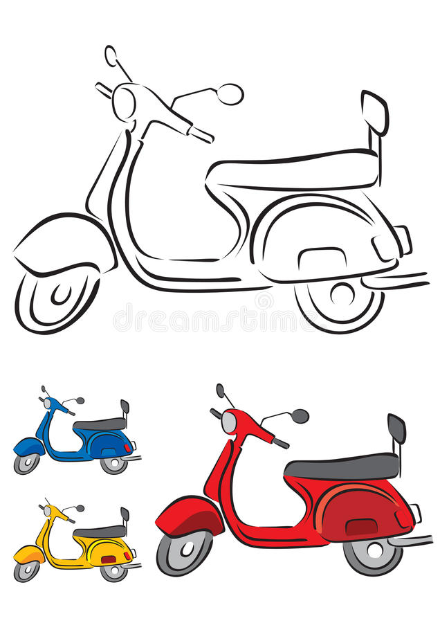 Illustrazione di vettore del motorino illustrazione di stock