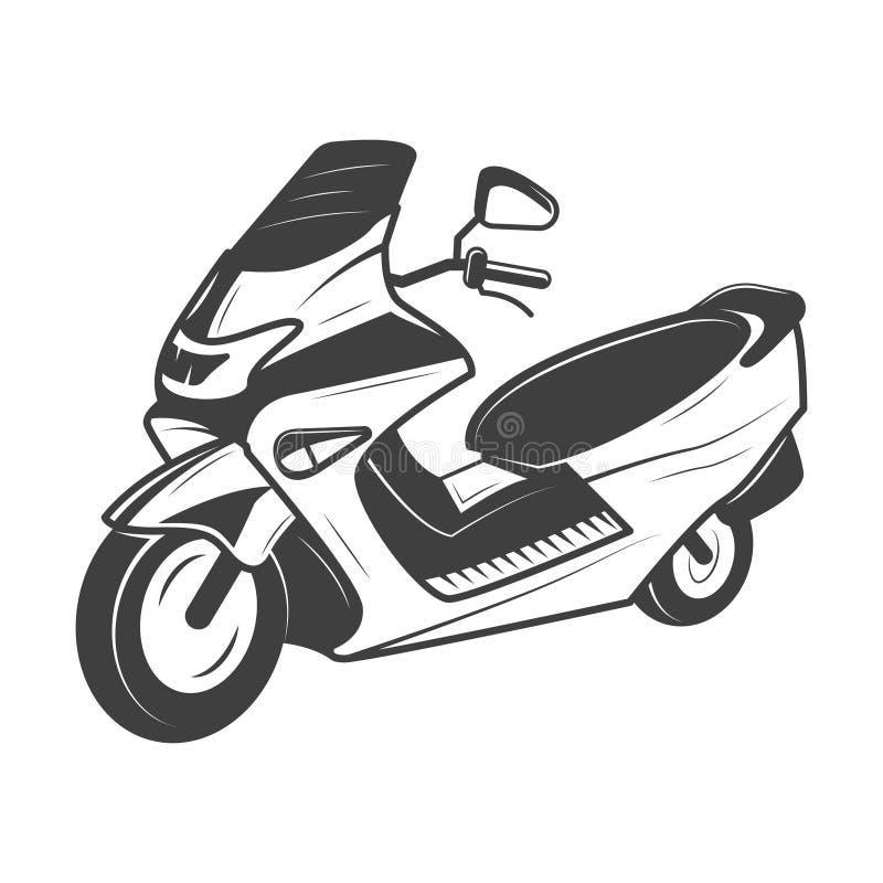 Illustrazione di vettore del motorino nello stile d'annata monocromatico illustrazione di stock