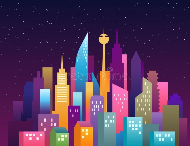 Illustrazione di vettore del paesaggio della citt? Paesaggio del centro moderno con i grattacieli Panorama della citt? illustrazione vettoriale