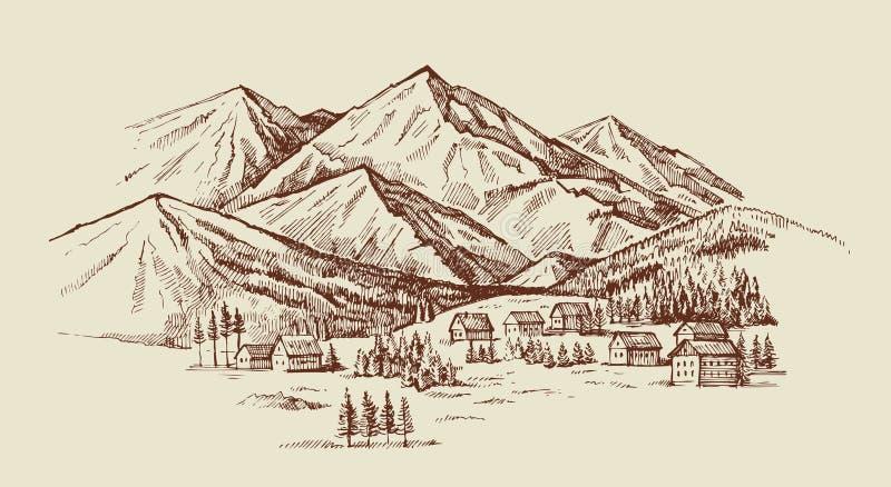 Illustrazione di vettore del paesaggio della montagna royalty illustrazione gratis
