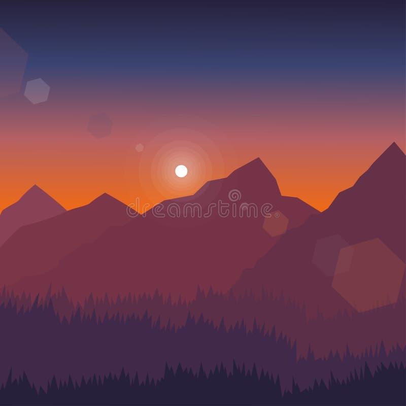 Illustrazione di vettore del paesaggio della montagna immagini stock libere da diritti