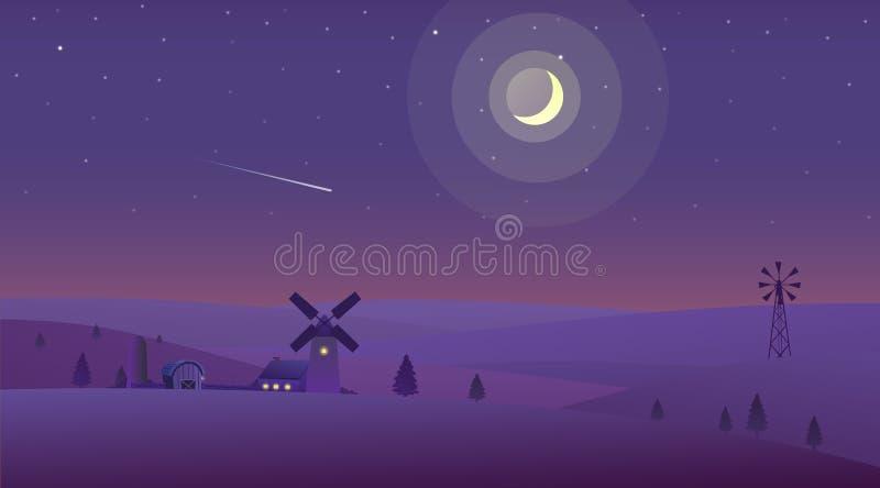 Illustrazione di vettore del paesaggio della natura di notte nella campagna illustrazione di stock