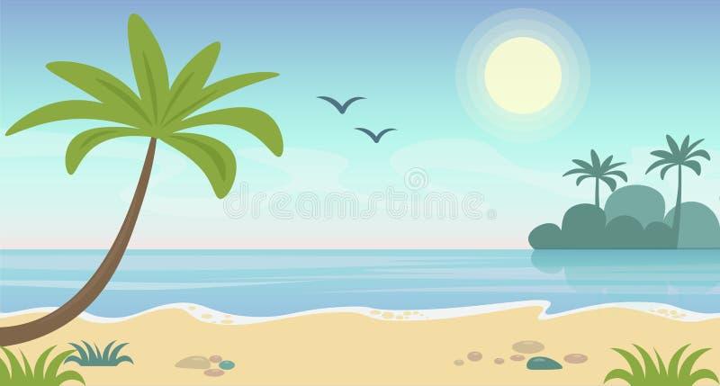 Illustrazione di vettore del paesaggio tropicale della bella spiaggia Concetto di estate con le palme e della spiaggia, acqua blu royalty illustrazione gratis