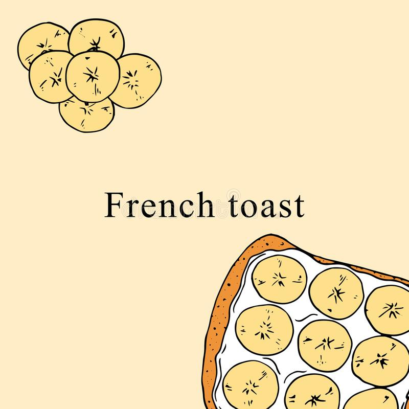 Illustrazione di vettore del pane inzuppato in latte/uova e zucchero e fritto in padella nello stile del fumetto illustrazione vettoriale