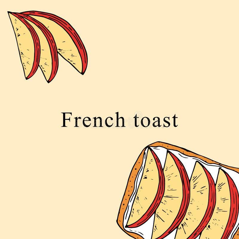 Illustrazione di vettore del pane inzuppato in latte/uova e zucchero e fritto in padella nello stile del fumetto illustrazione di stock